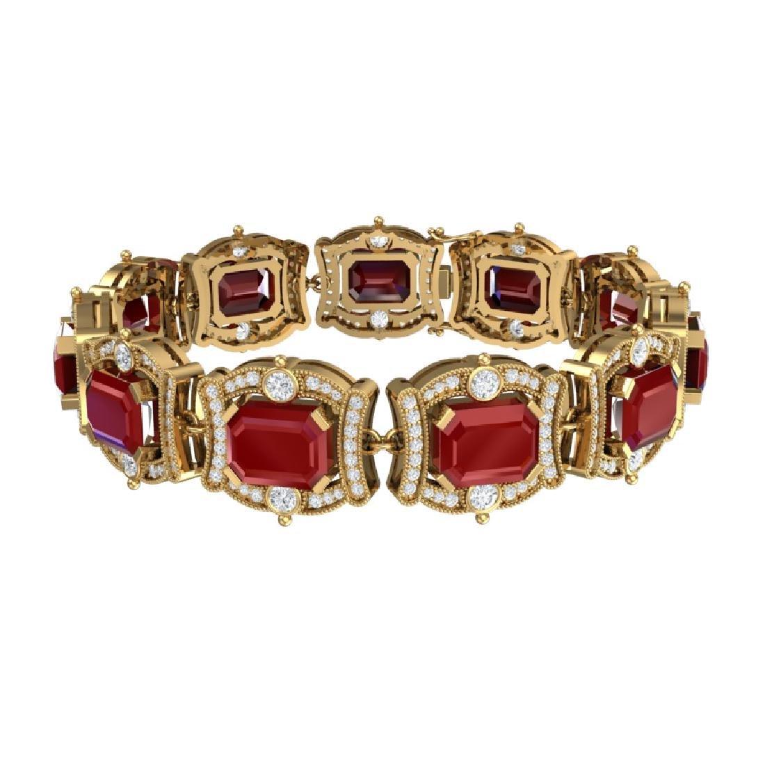 43.87 CTW Royalty Ruby & VS Diamond Bracelet 18K Yellow - 3