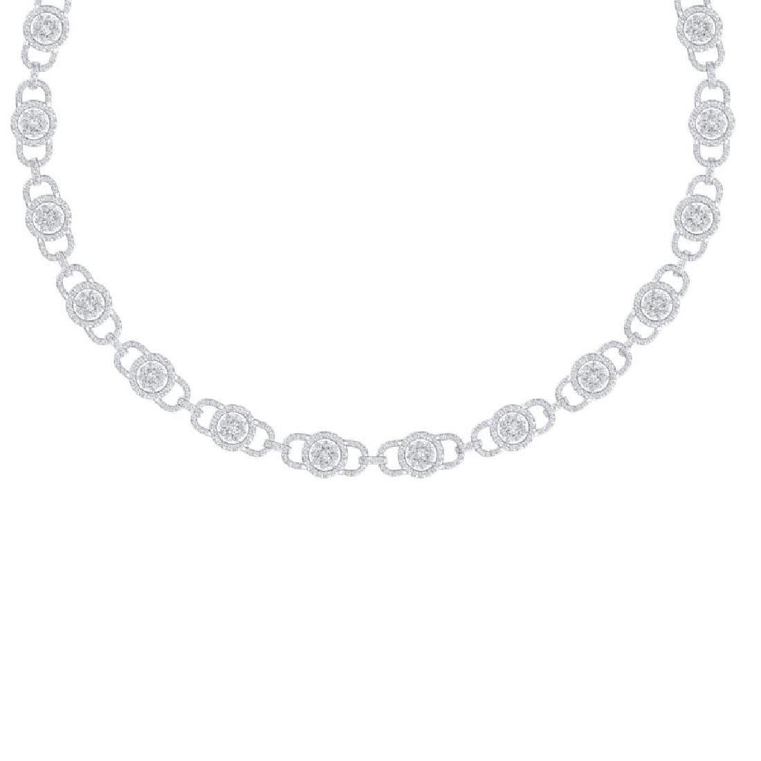 12 CTW Certified SI/I Diamond Halo Necklace 18K White