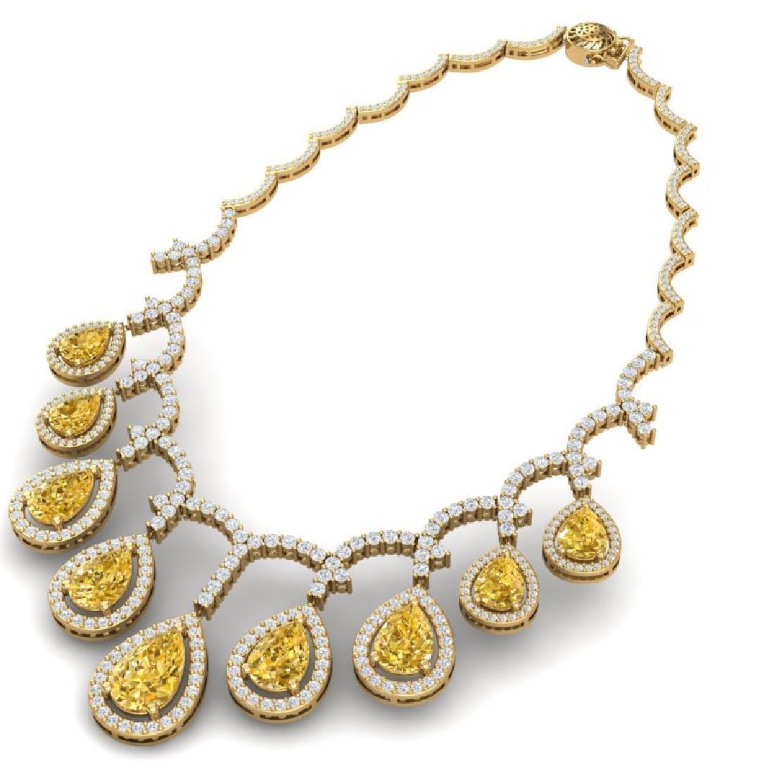29.42 CTW Royalty Canary Citrine & VS Diamond Necklace - 3