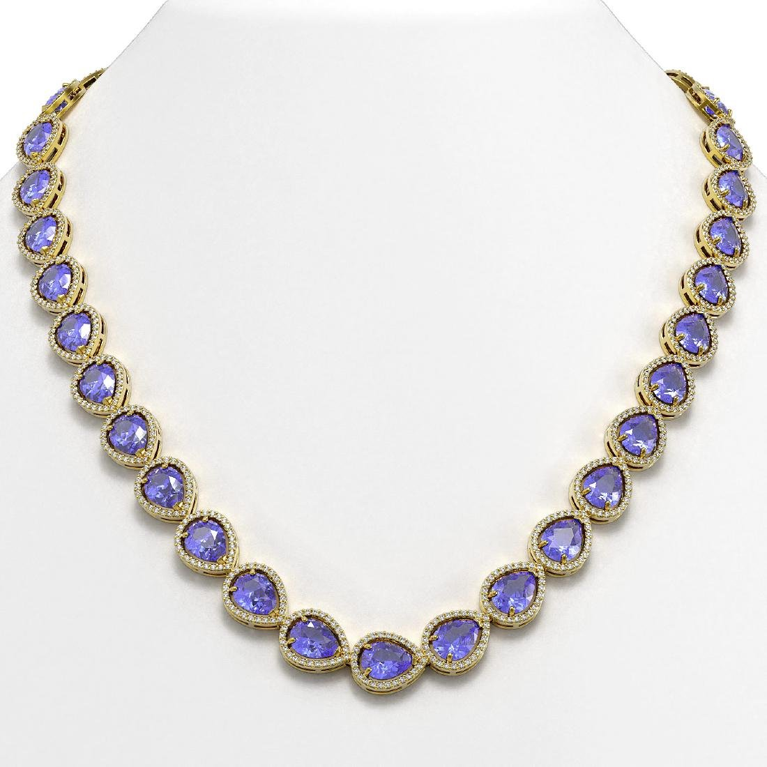 44.8 CTW Tanzanite & Diamond Halo Necklace 10K Yellow