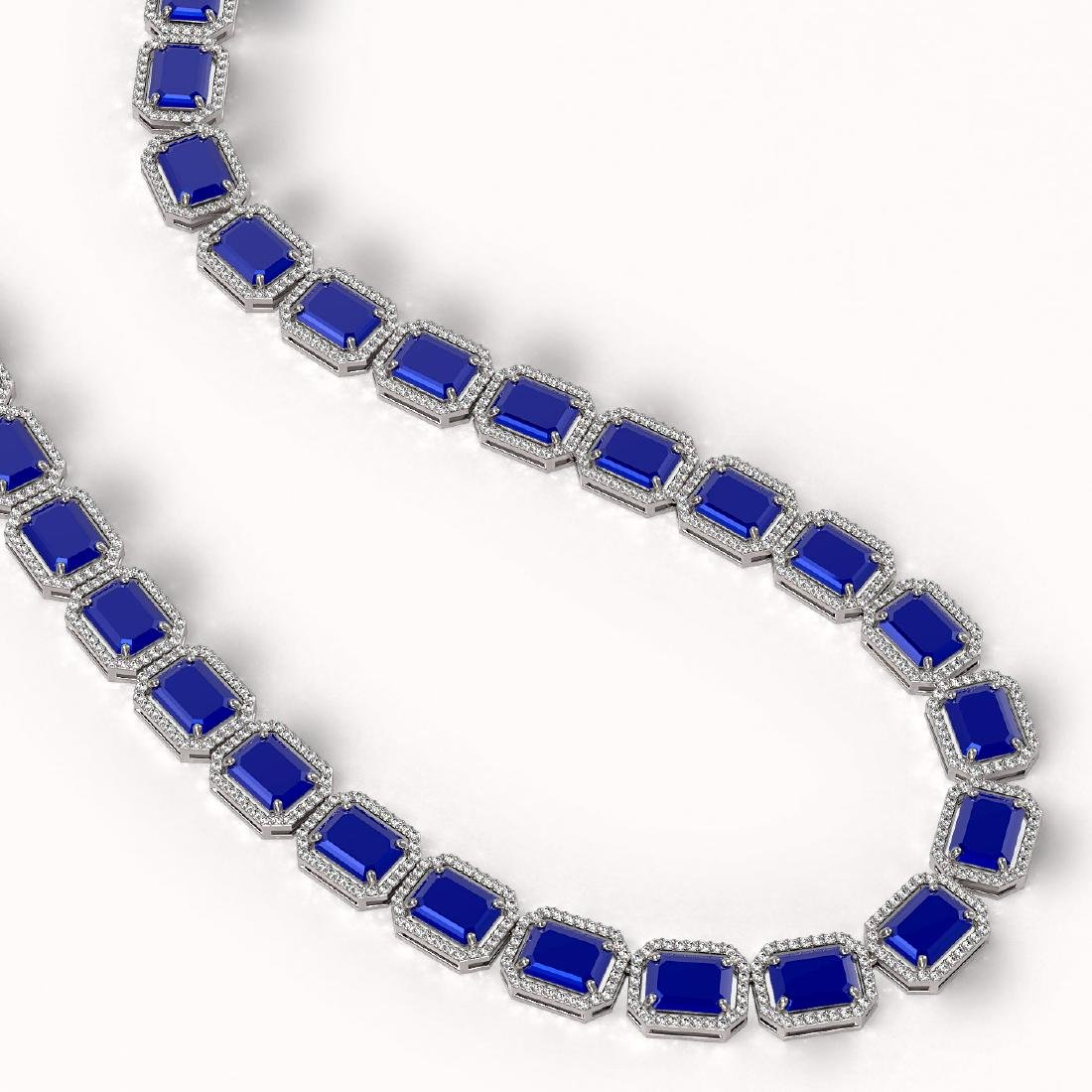 84.94 CTW Sapphire & Diamond Halo Necklace 10K White - 2