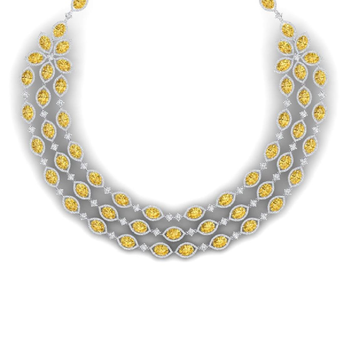 69.29 CTW Royalty Canary Citrine & VS Diamond Necklace - 2