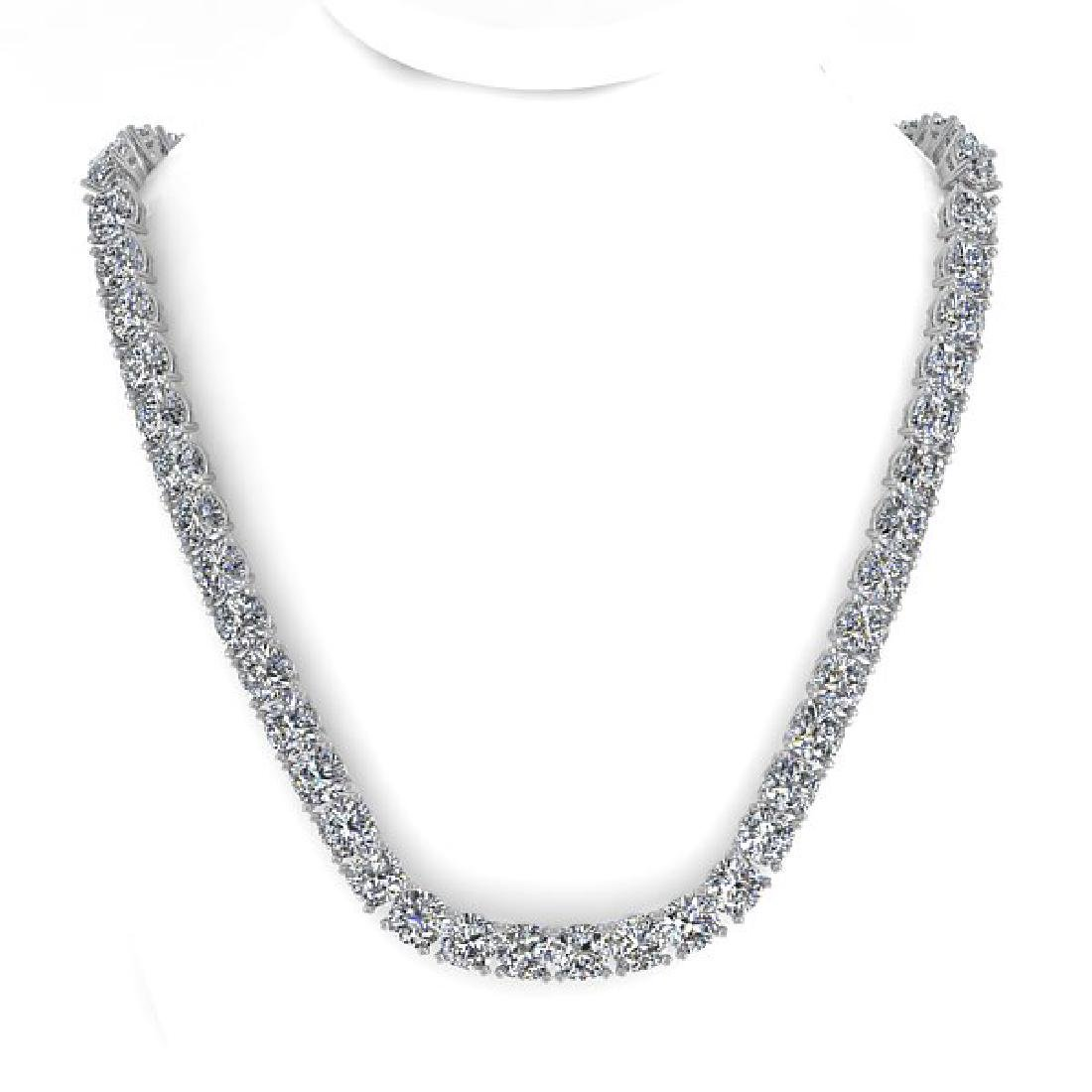 30 CTW Cushion Cut Certified SI Diamond Necklace 18K - 3