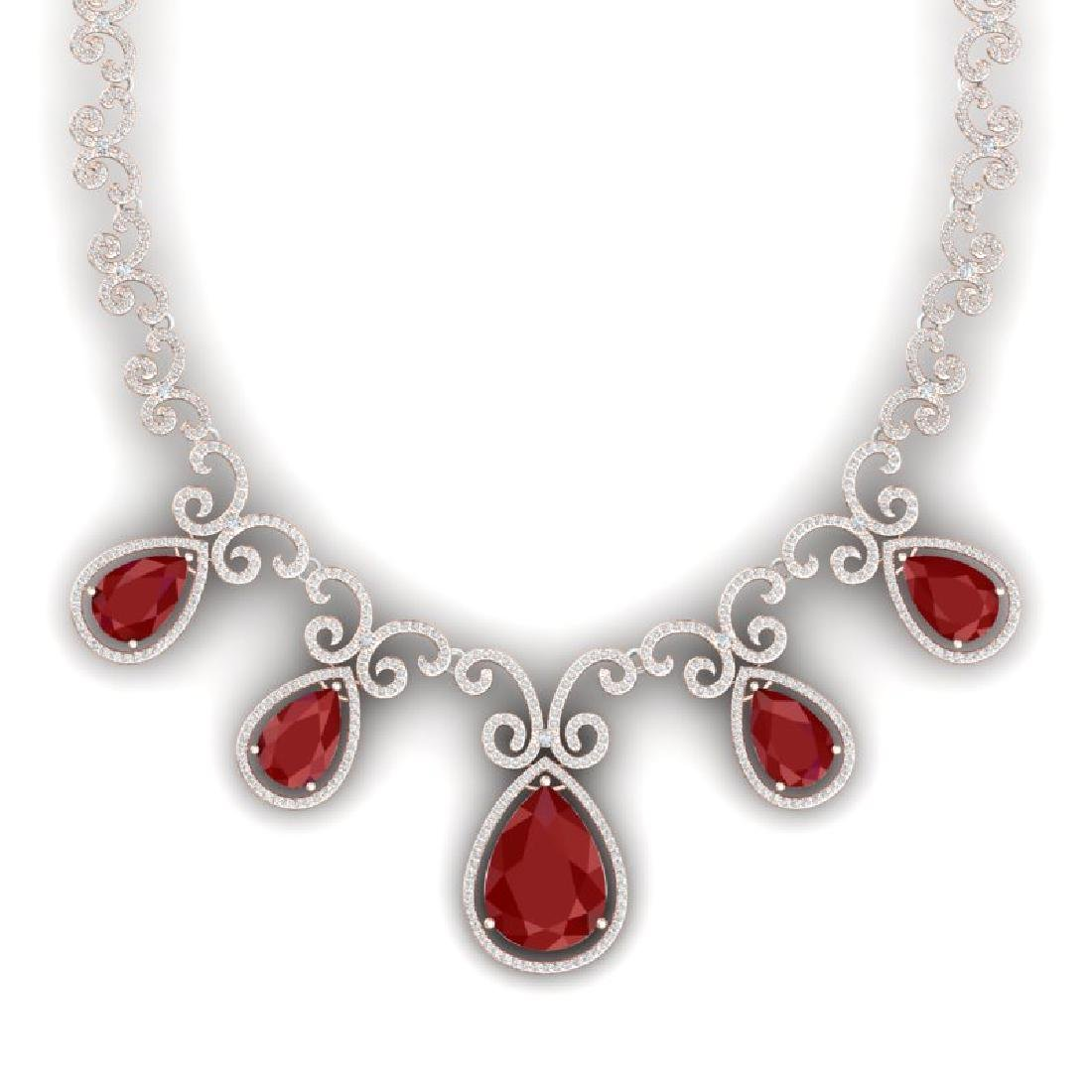 38.42 CTW Royalty Ruby & VS Diamond Necklace 18K Rose