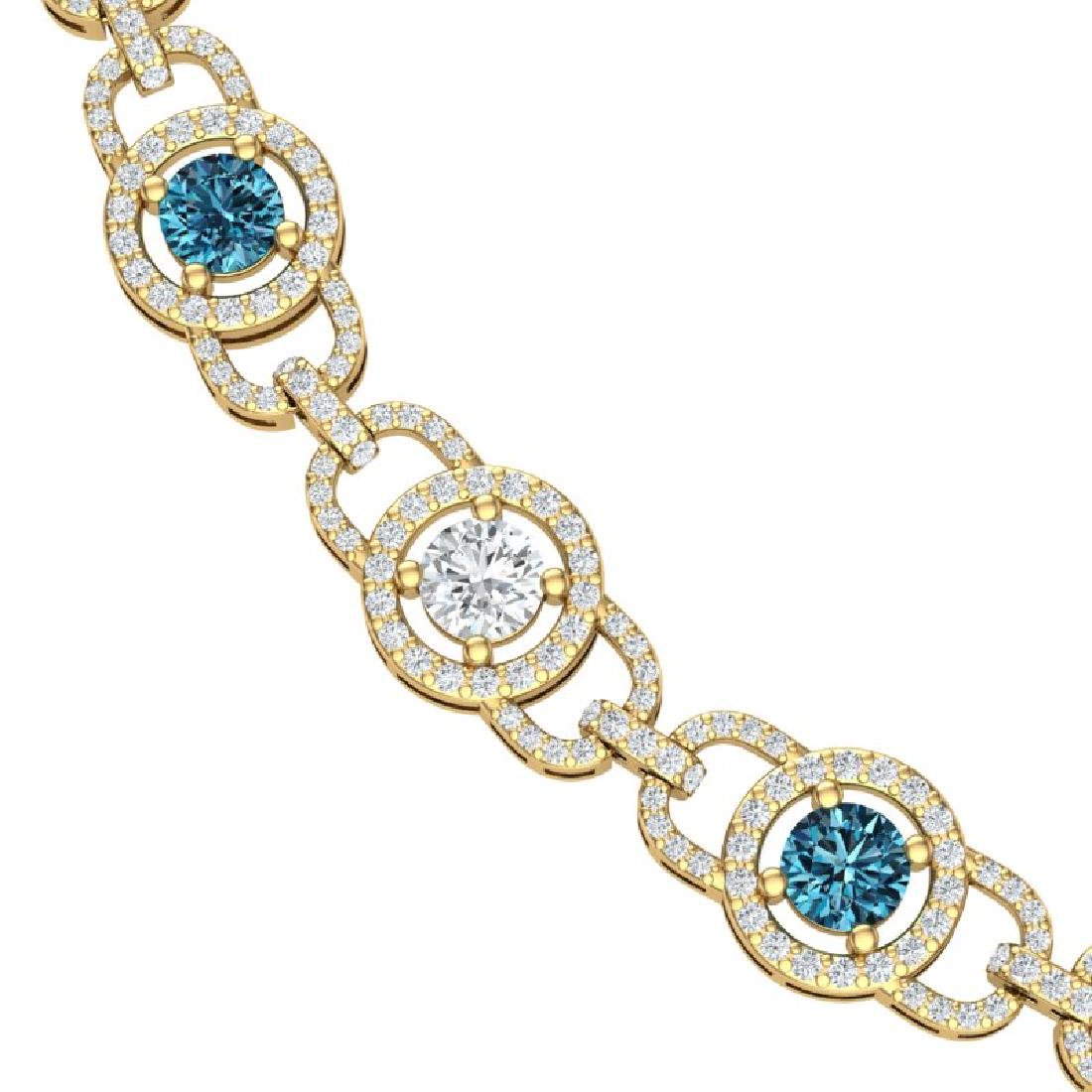 25 CTW SI/I Intense Blue And White Diamond Necklace 18K - 2