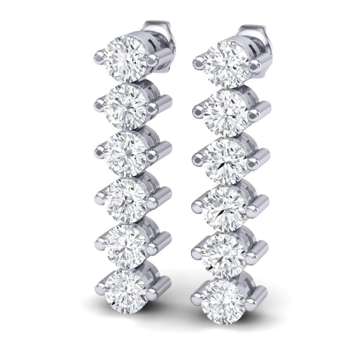 3 CTW Certified VS/SI Diamond Earrings 18K White Gold - 2