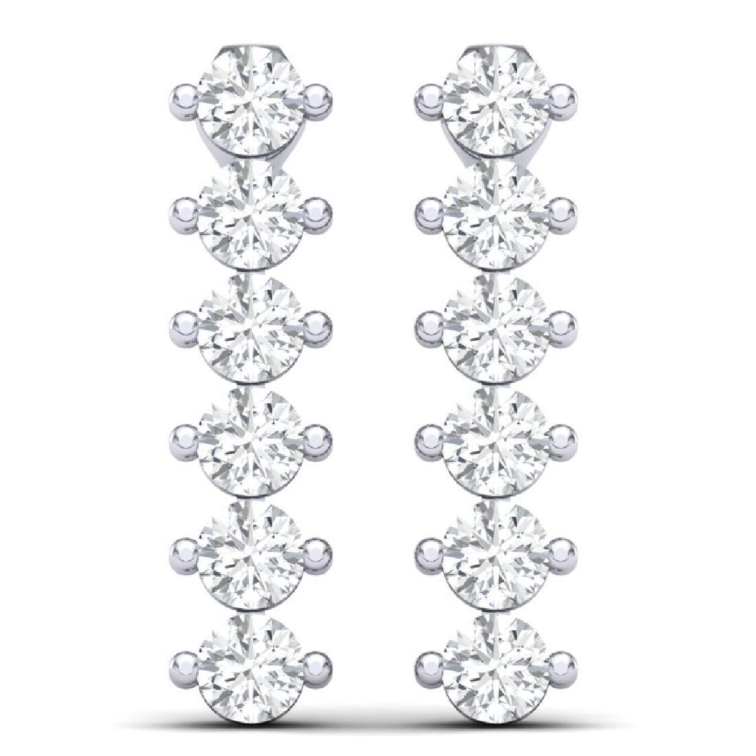 3 CTW Certified VS/SI Diamond Earrings 18K White Gold - 3