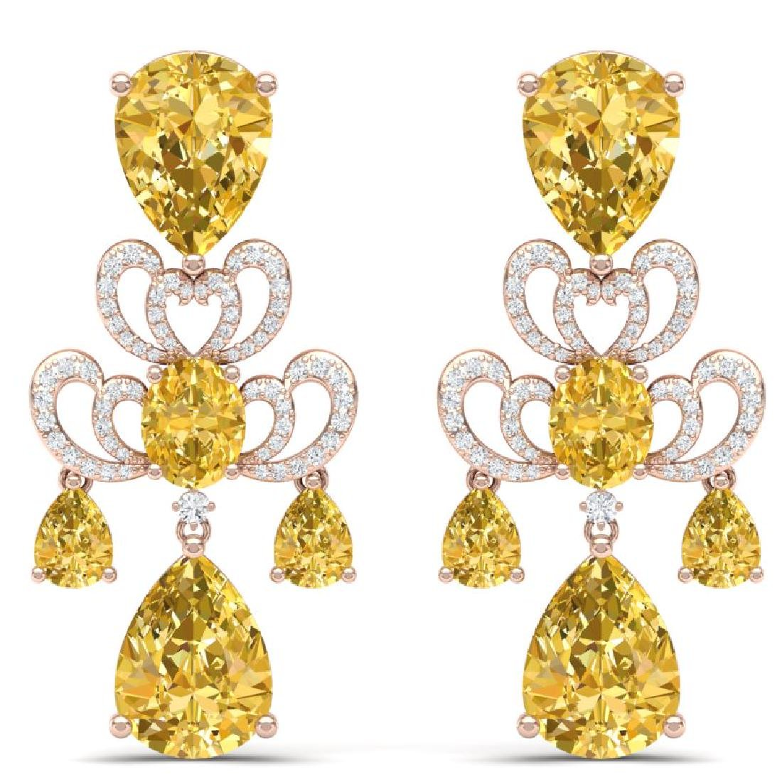 55.89 CTW Royalty Canary Citrine & VS Diamond Earrings