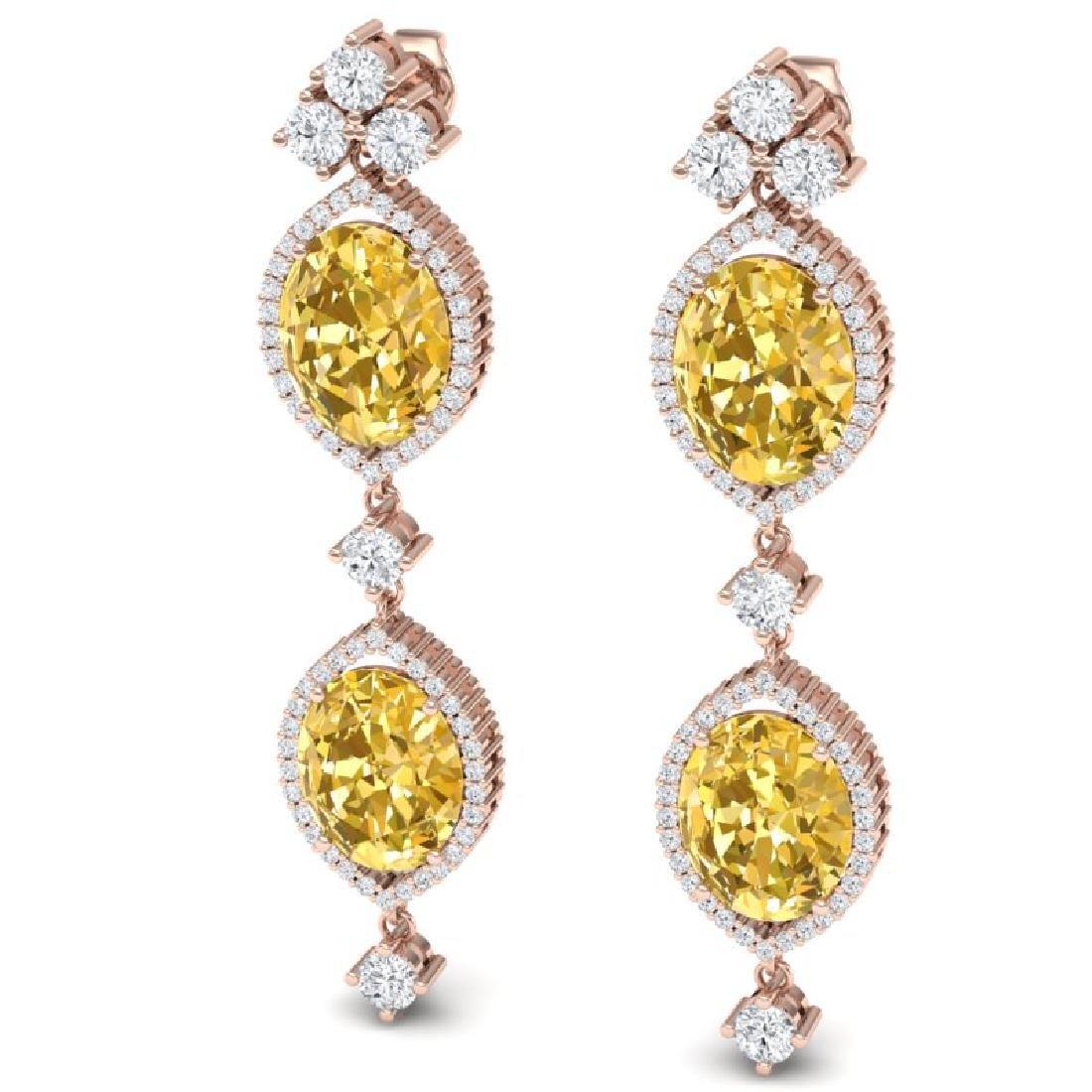 12.21 CTW Royalty Canary Citrine & VS Diamond Earrings - 2