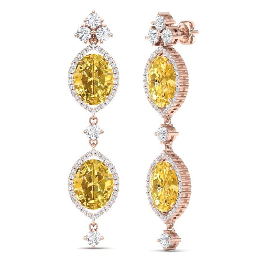 12.21 CTW Royalty Canary Citrine & VS Diamond Earrings - 3