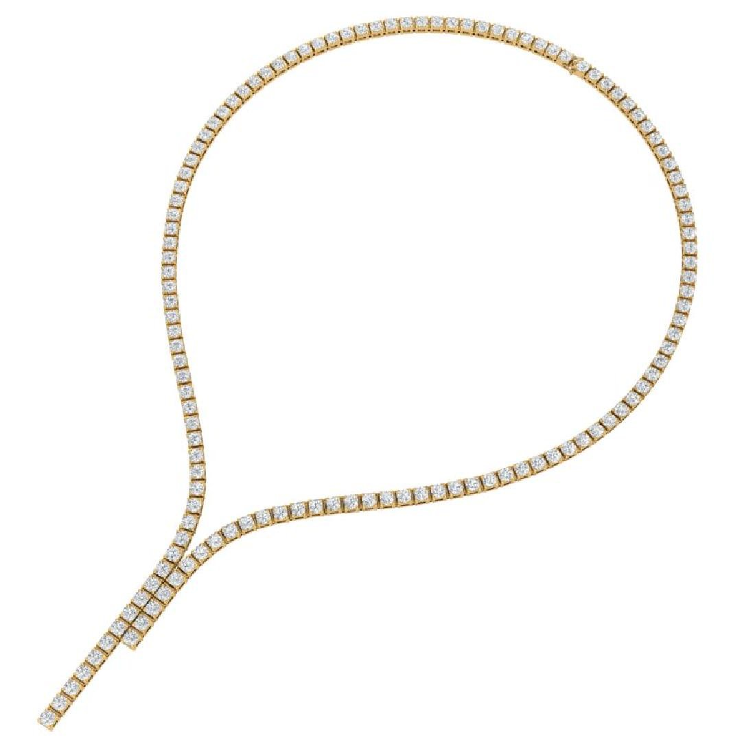 15 CTW Certified SI/I Diamond Necklace 18K Yellow Gold - 3