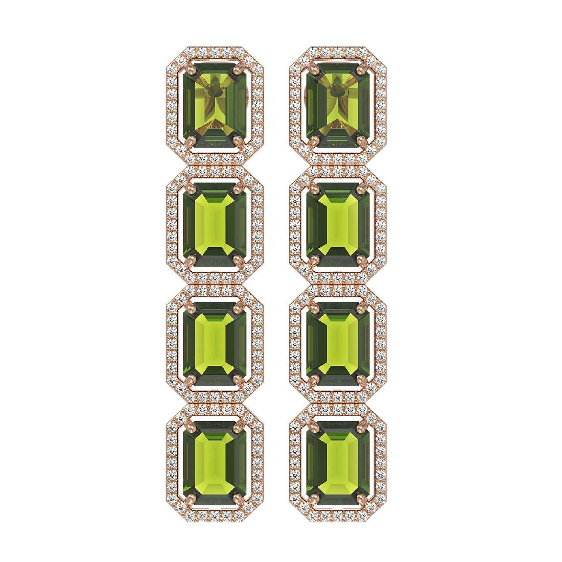19.44 CTW Tourmaline & Diamond Halo Earrings 10K Rose