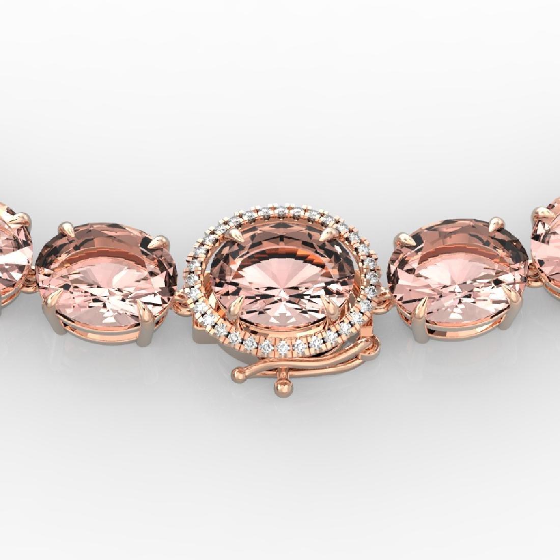 148 CTW Morganite & VS/SI Diamond Pave Necklace 14K