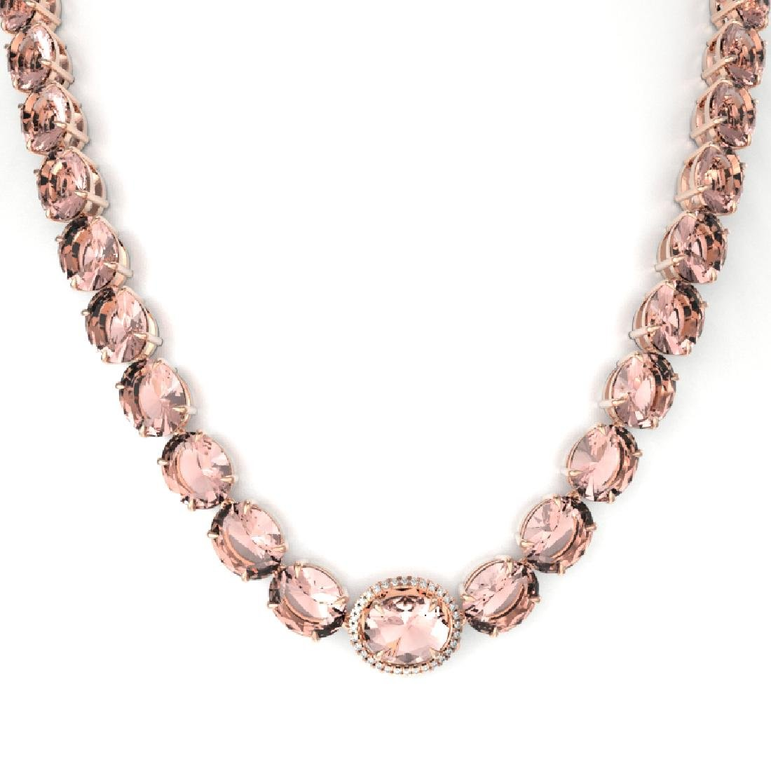 148 CTW Morganite & VS/SI Diamond Pave Necklace 14K - 2