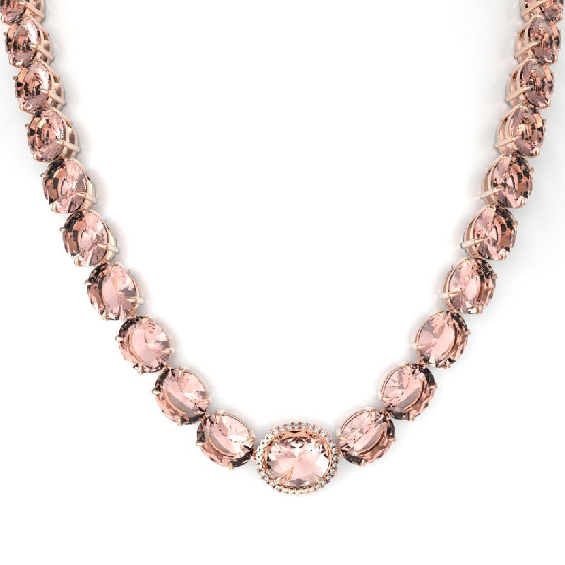 148 CTW Morganite & VS/SI Diamond Pave Necklace 14K - 2