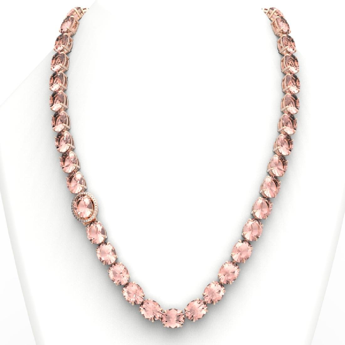 148 CTW Morganite & VS/SI Diamond Pave Necklace 14K - 3