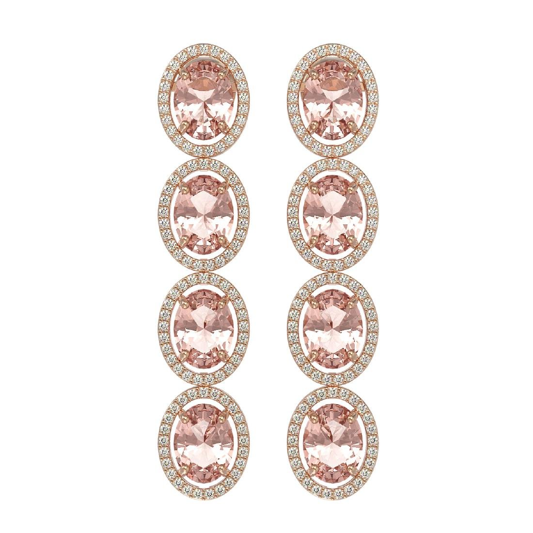 11.4 CTW Morganite & Diamond Halo Earrings 10K Rose