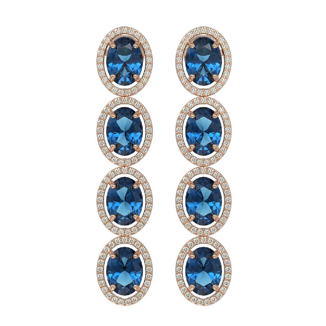 14.76 CTW London Topaz & Diamond Halo Earrings 10K Rose