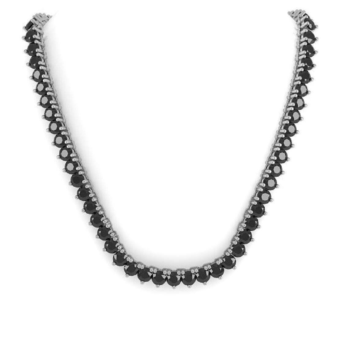60 CTW Solitaire Certified Black VS Diamond Necklace - 3