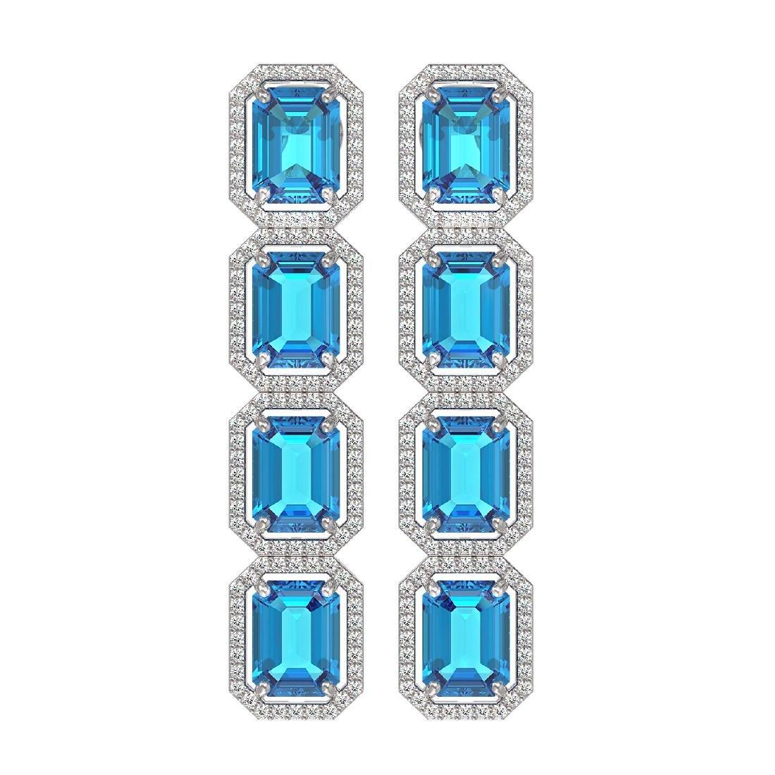 18.99 CTW Swiss Topaz & Diamond Halo Earrings 10K White