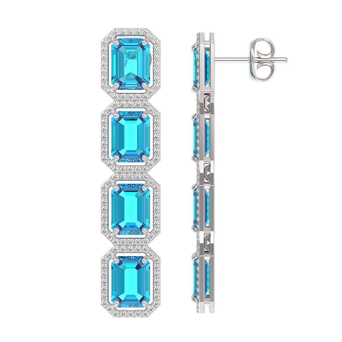 18.99 CTW Swiss Topaz & Diamond Halo Earrings 10K White - 2
