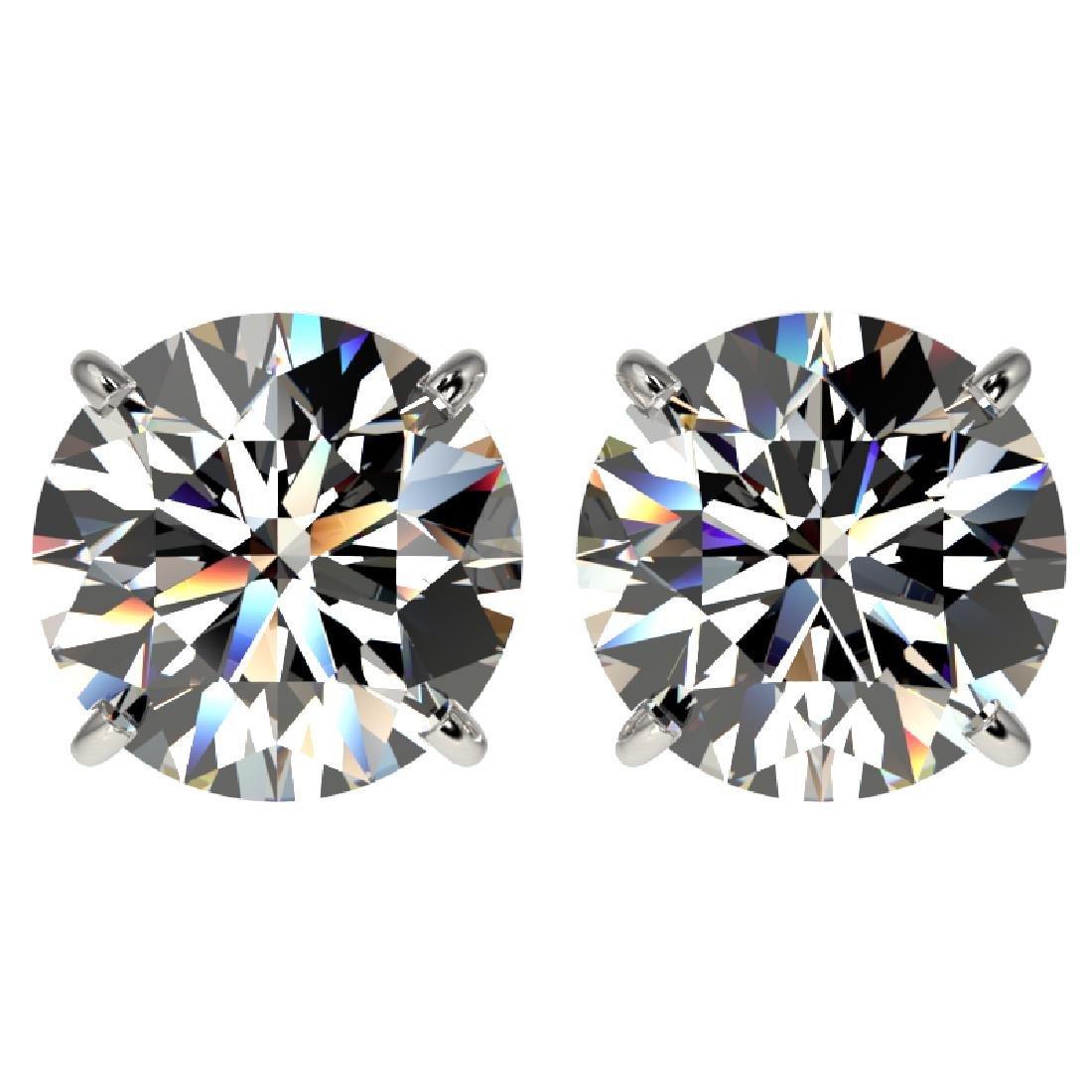 4.04 CTW Certified H-I Quality Diamond Stud Earrings