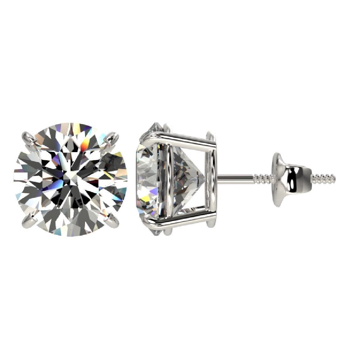 4.04 CTW Certified H-I Quality Diamond Stud Earrings - 2