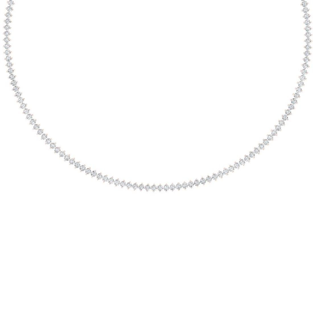 10 CTW Certified SI/I Diamond 2 Prong Necklace 18K Rose