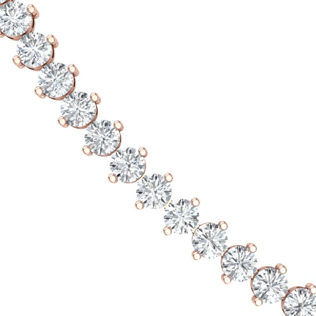 10 CTW Certified SI/I Diamond 2 Prong Necklace 18K Rose - 2
