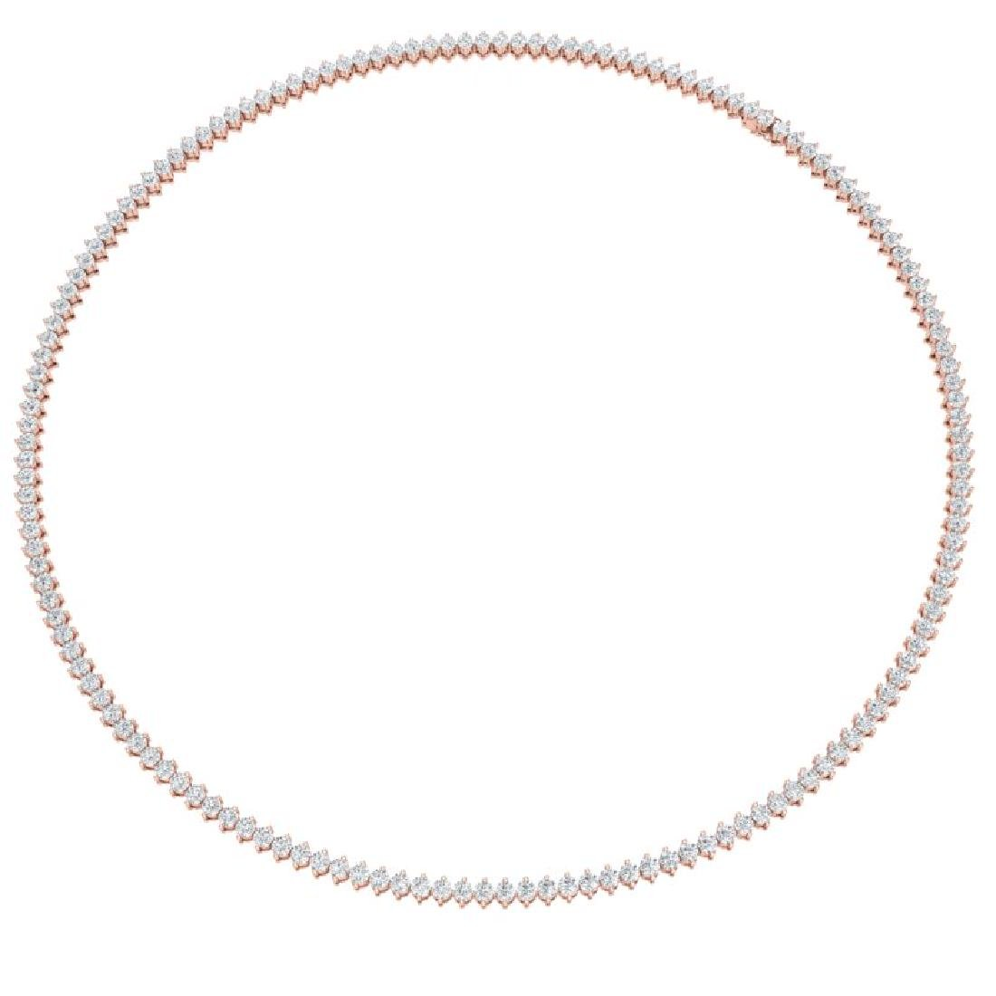 10 CTW Certified SI/I Diamond 2 Prong Necklace 18K Rose - 3