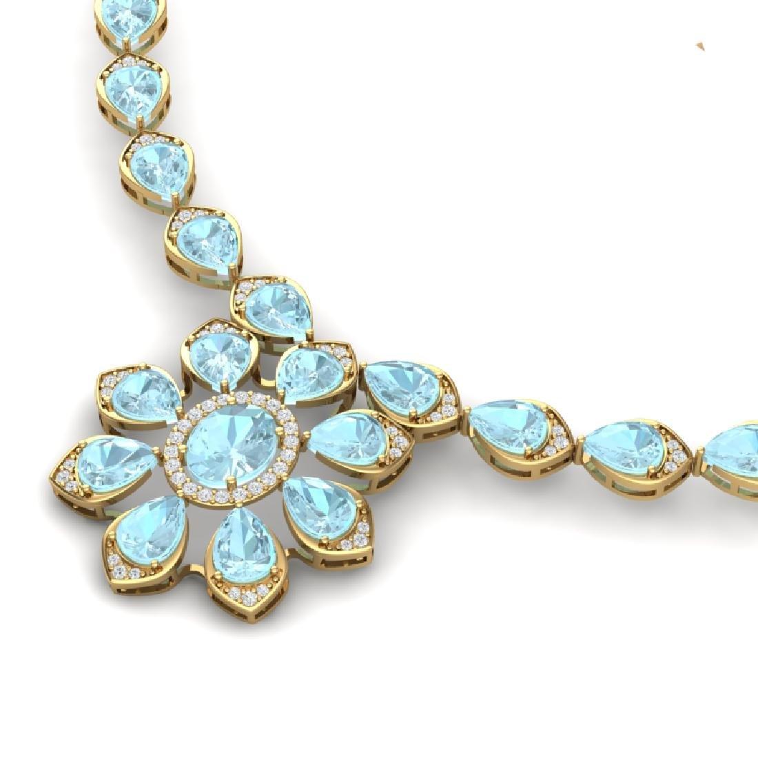 29.34 CTW Royalty Sky Topaz & VS Diamond Necklace 18K - 2