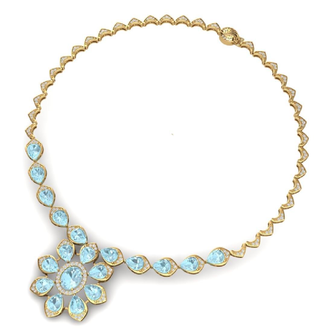 29.34 CTW Royalty Sky Topaz & VS Diamond Necklace 18K - 3