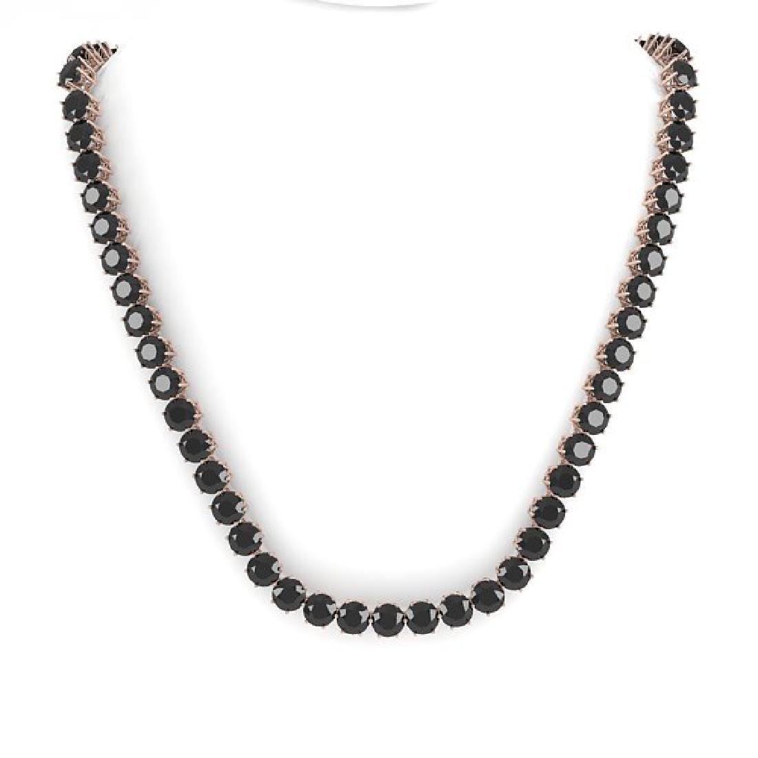 36 CTW Certified Black VS Diamond Necklace 14K Rose - 3