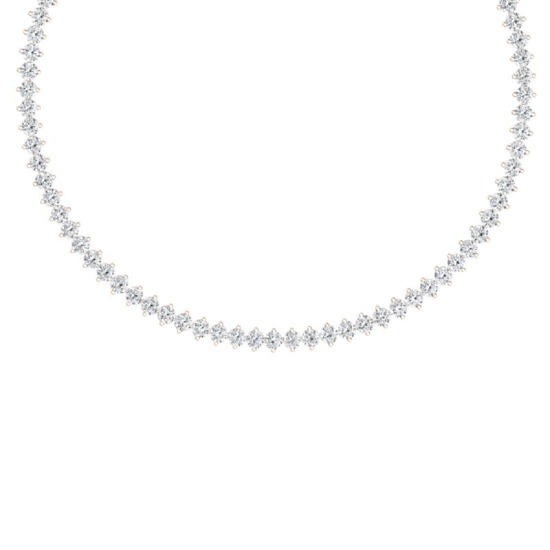 30 CTW Certified VS/SI Diamond Necklace 18K Rose Gold