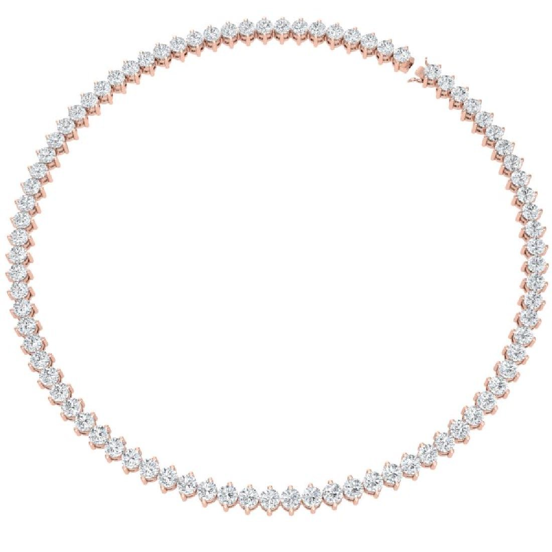 30 CTW Certified VS/SI Diamond Necklace 18K Rose Gold - 3