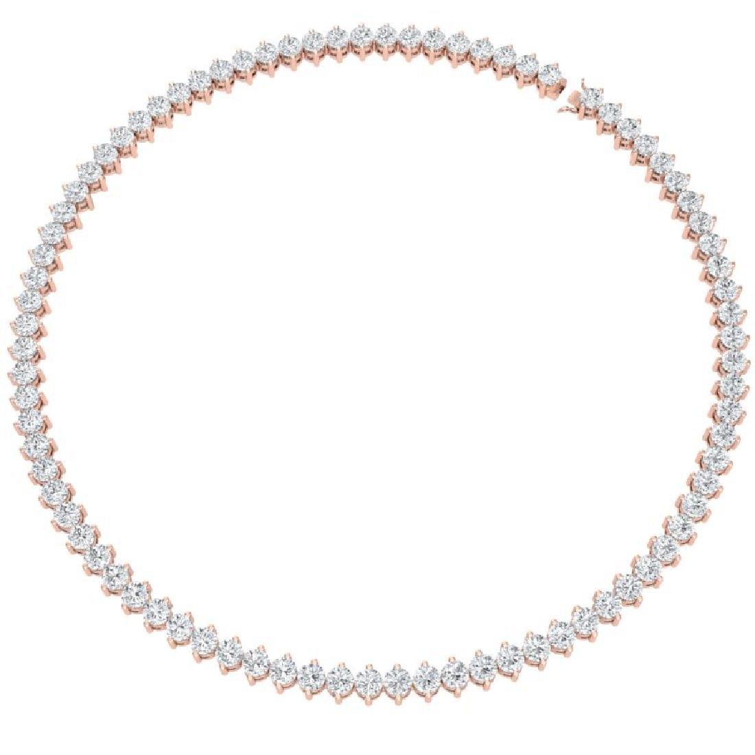 30 CTW Certified VS/SI Diamond Necklace 18K Rose Gold - 3