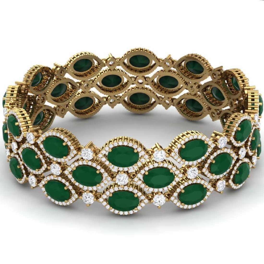 47.84 CTW Royalty Emerald & VS Diamond Bracelet 18K - 3