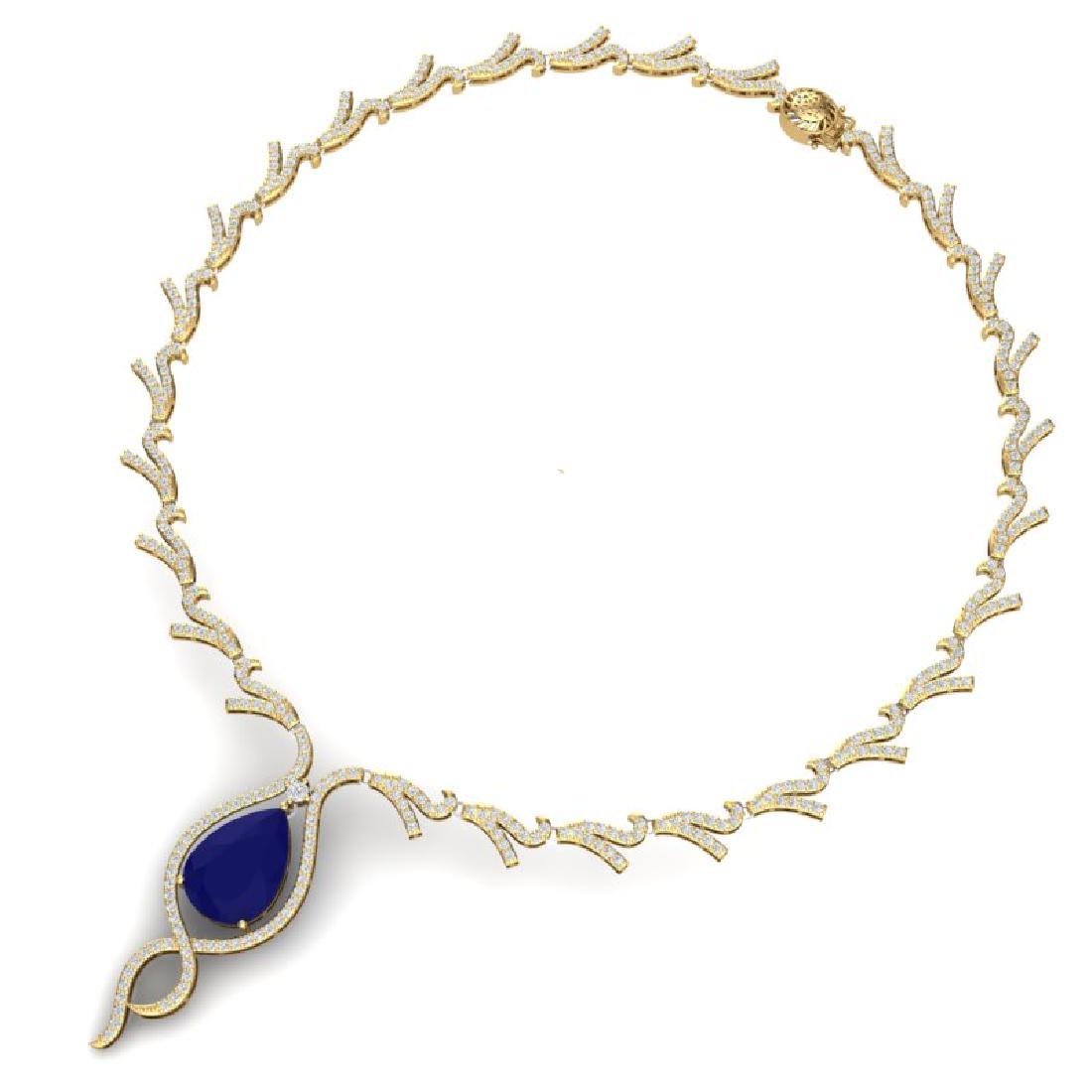 23.43 CTW Royalty Sapphire & VS Diamond Necklace 18K - 3