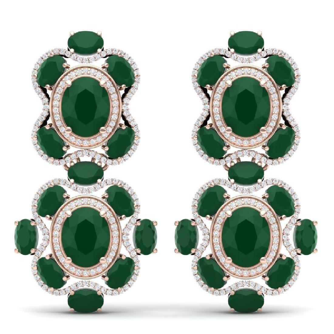 33.5 CTW Royalty Emerald & VS Diamond Earrings 18K Rose