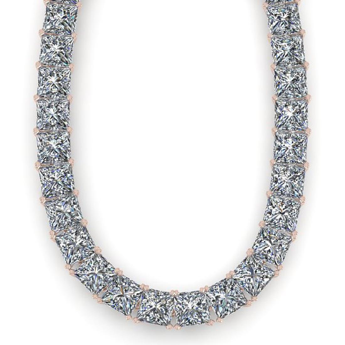 50 CTW Princess Certified SI Diamond Necklace 14K White - 2