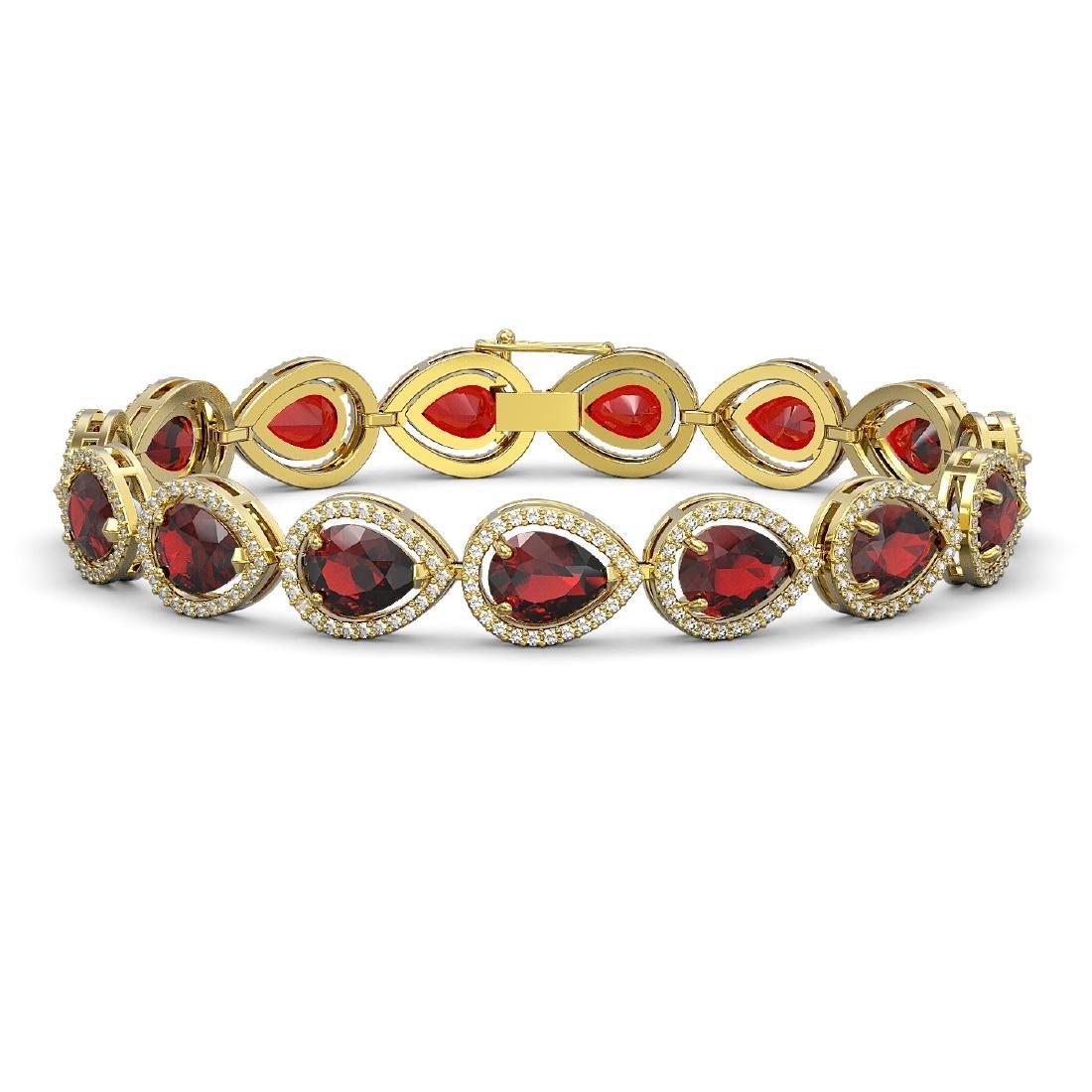 17.45 CTW Garnet & Diamond Halo Bracelet 10K Yellow