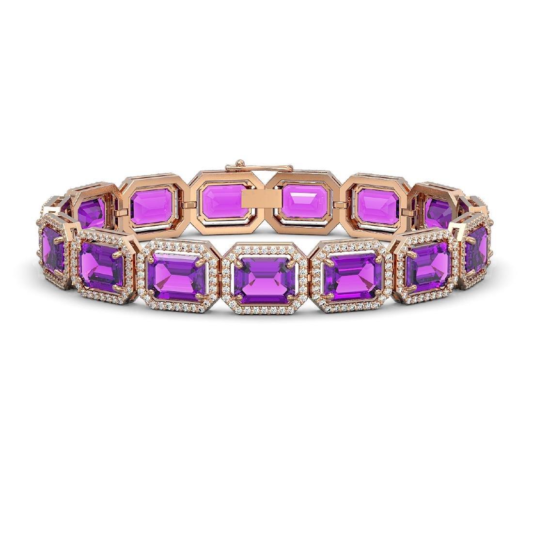 34.86 CTW Amethyst & Diamond Halo Bracelet 10K Rose