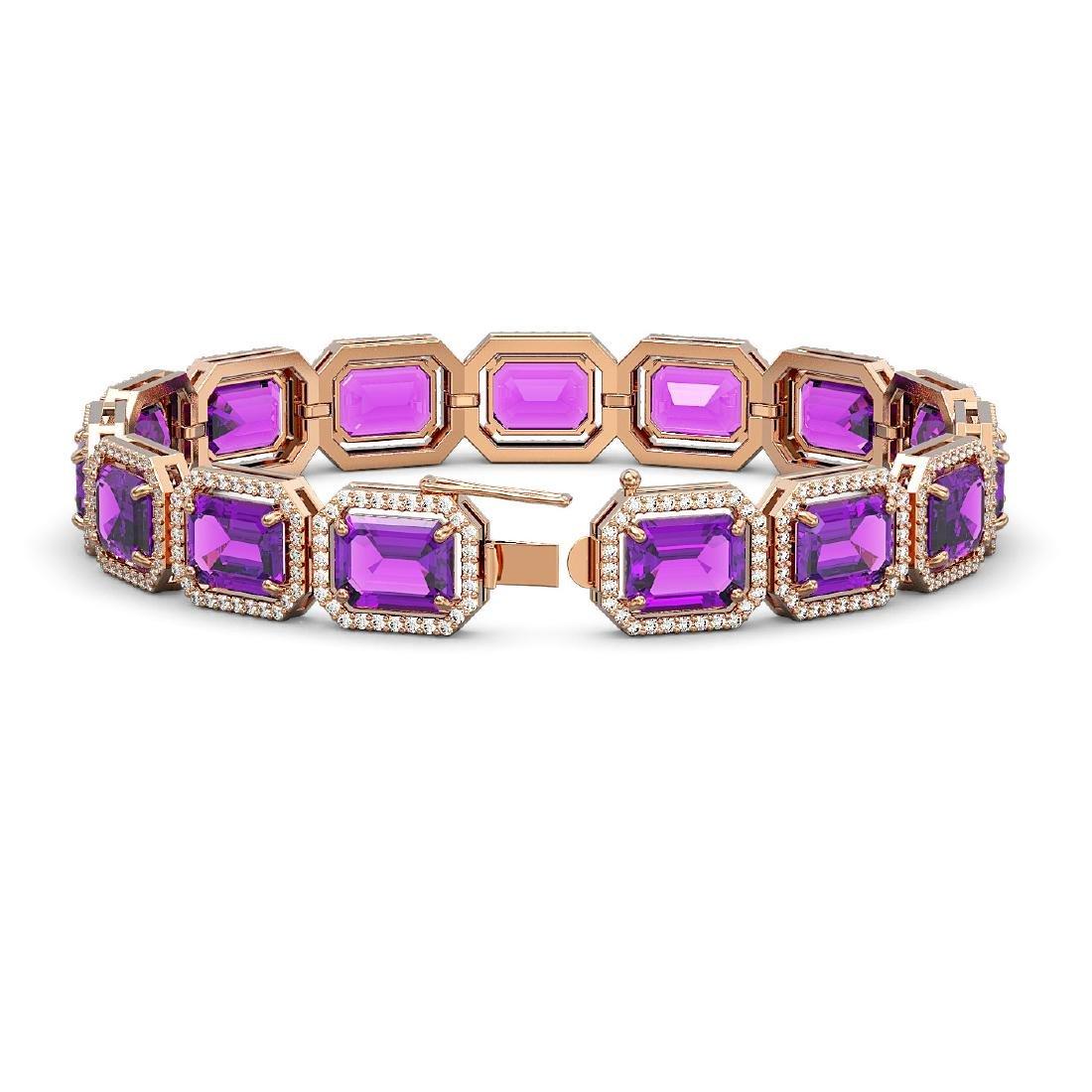 34.86 CTW Amethyst & Diamond Halo Bracelet 10K Rose - 2