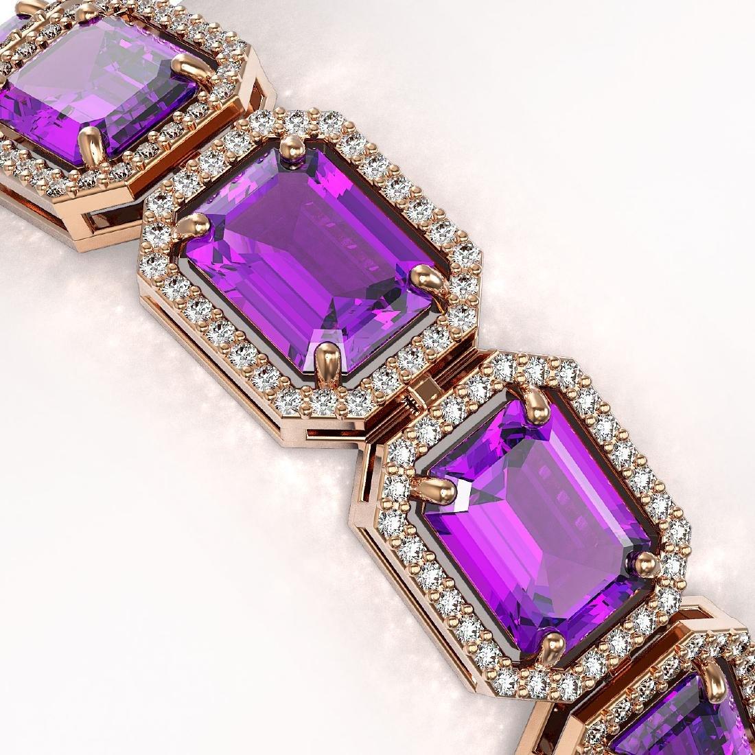 34.86 CTW Amethyst & Diamond Halo Bracelet 10K Rose - 3