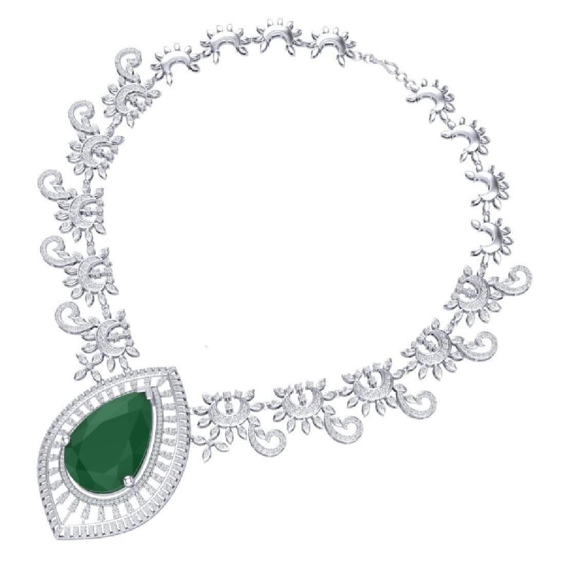 65.75 CTW Royalty Emerald & VS Diamond Necklace 18K - 3