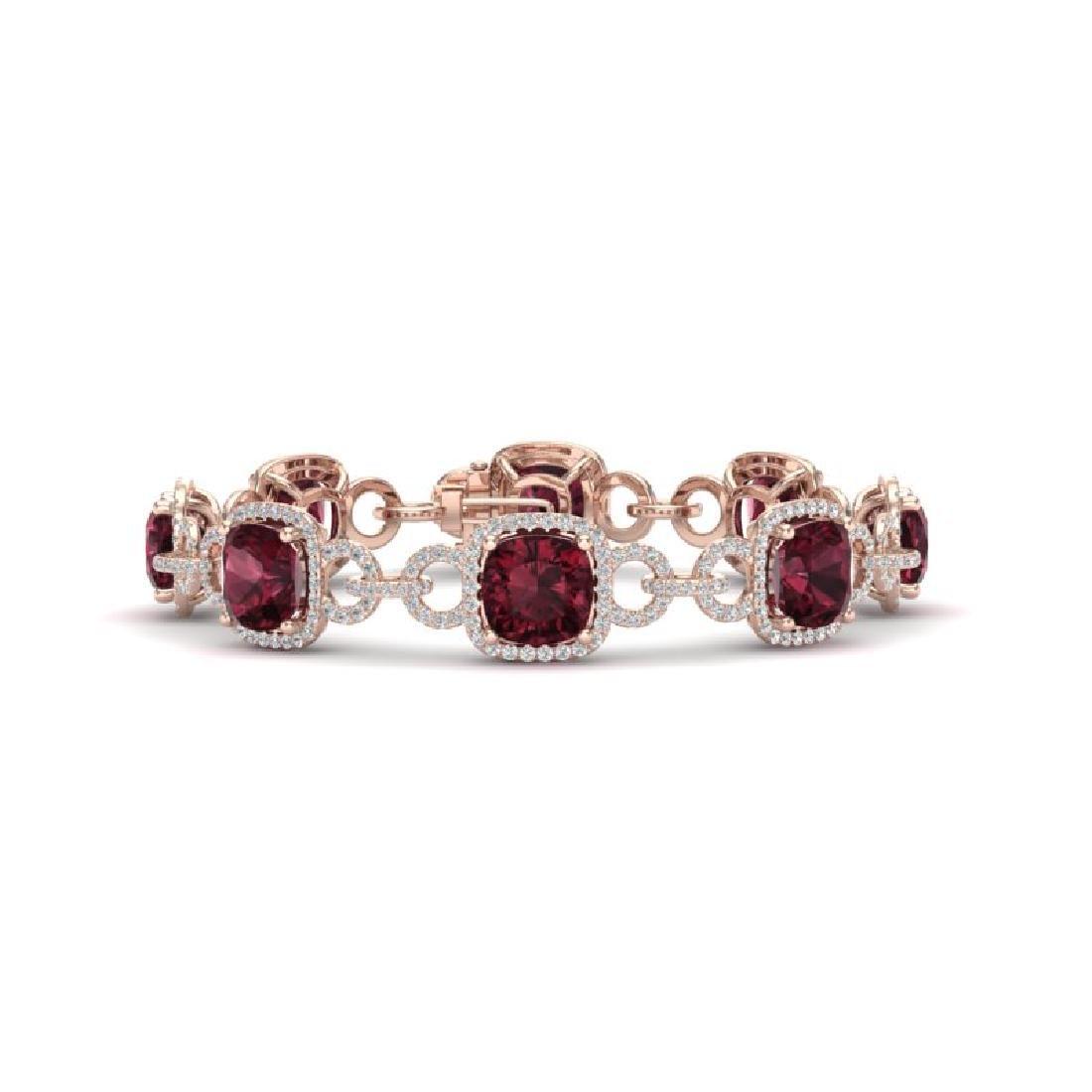 30 CTW Garnet & VS/SI Diamond Bracelet 14K Rose Gold