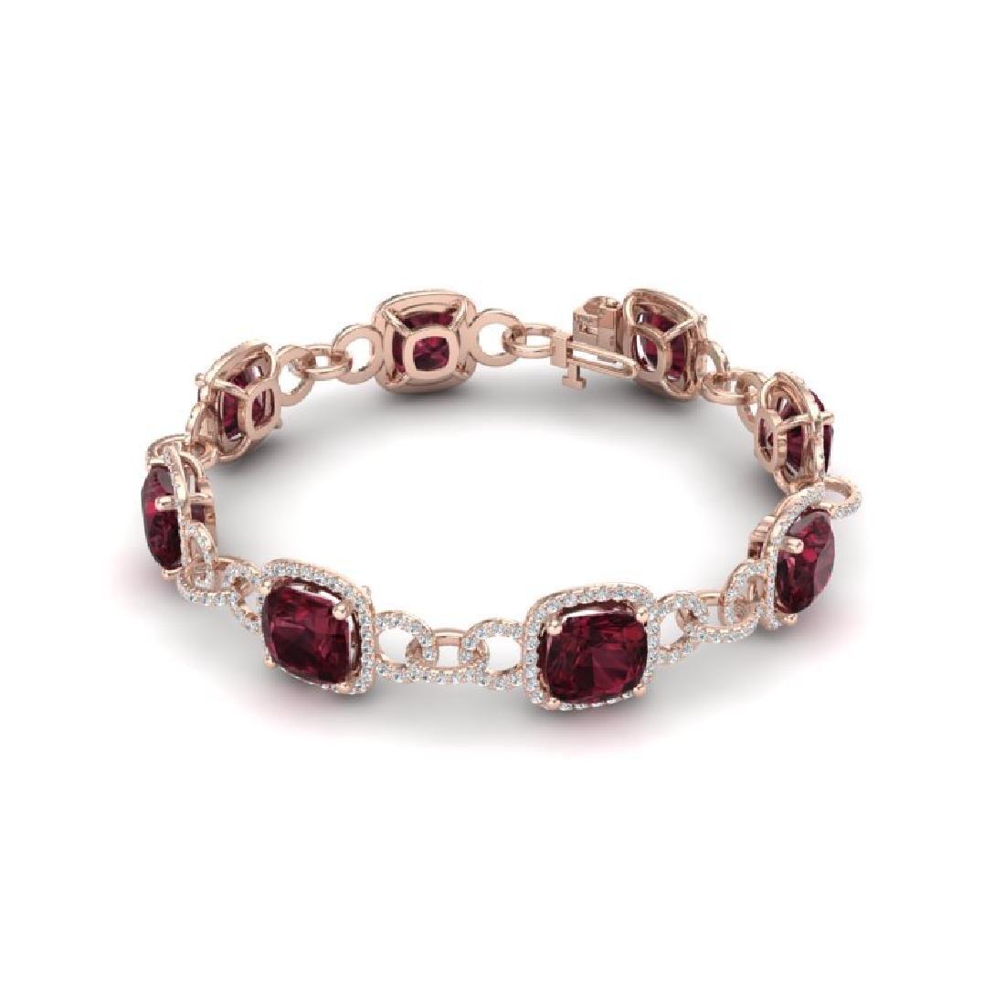 30 CTW Garnet & VS/SI Diamond Bracelet 14K Rose Gold - 2
