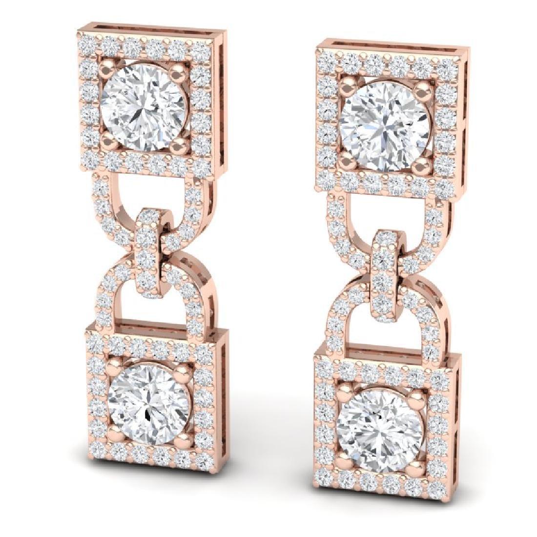 4 CTW Certified SI/I Diamond Halo Earrings 18K Rose - 2