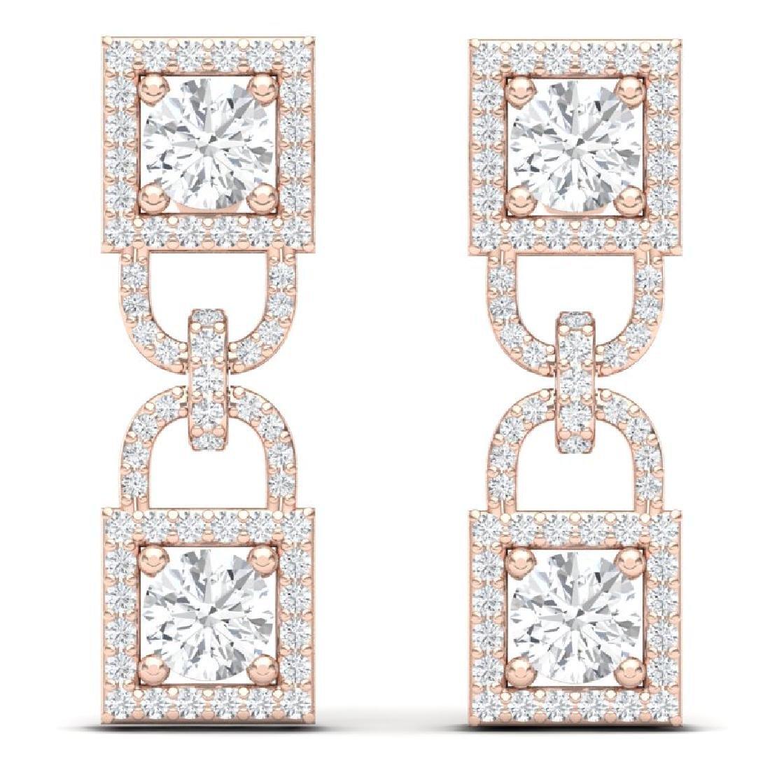 4 CTW Certified SI/I Diamond Halo Earrings 18K Rose - 3