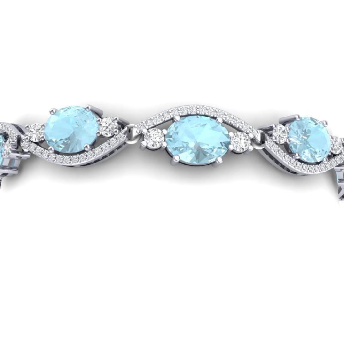 21.6 CTW Royalty Sky Topaz & VS Diamond Bracelet 18K